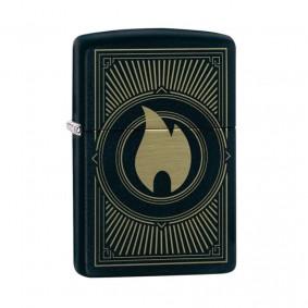 Isqueiro Zippo 49217 Classic Gold & Black Deco Flame Preto Fosco
