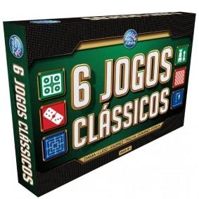 Jogo 6 em 1 Clássicos - Dama + Ludo + Xadrez + Trilha + Dominó + Forca | Pais & Filhos