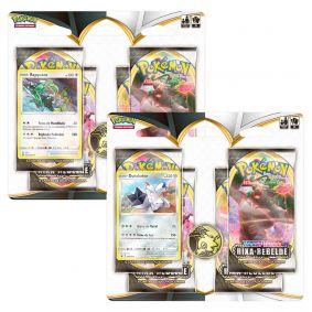Pokémon TCG: 2 Quad Pack SWSH2 Rixa Rebelde - Duraludon + Rayquaza