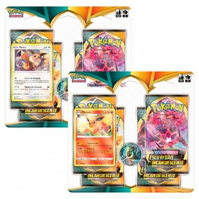 Pokémon TCG: 2 Quad Pack SWSH3 Escuridão Incandescente - Flareon + Eevee
