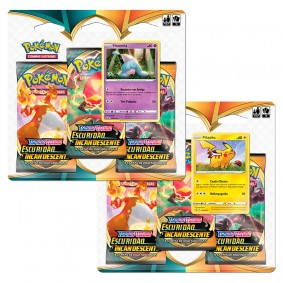 Pokémon TCG: 2 Triple Pack SWSH3 Escuridão Incandescente - Hatenna + Pikachu