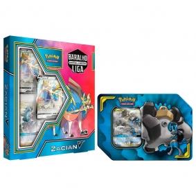 Pokémon TCG: Baralho Batalha de Liga Zacian V + Lata Parceria Poderosa Lucario e Melmetal GX