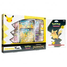 Pokémon TCG: Box Celebrações - Pikachu V-UNIÃO + Blister Gigante Pacote de Parceiros Iniciais - Pikachu