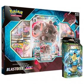 Pokémon TCG: Box Coleção de Batalha Blastoise VMAX + Baralho Batalha V