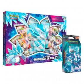 Pokémon TCG: Box Coleção Sandslash de Alola-GX + Deck SM3 Sombras Ardentes - Geada Luminosa