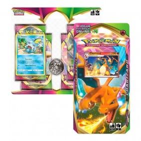 Pokémon TCG: Deck SWSH4 Voltagem Vívida - Baralho Temático Charizard + Quad Pack Sobble