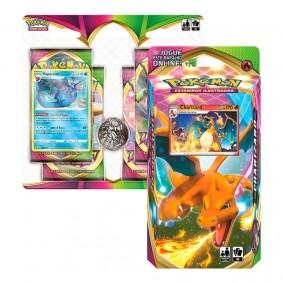 Pokémon TCG: Deck SWSH4 Voltagem Vívida - Baralho Temático Charizard + Quad Pack Vaporeon