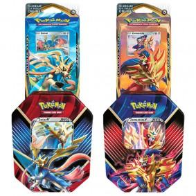 Pokémon TCG: Lata Colecionável Lendas de Galar - Zacian V + Zamazenta V + Baralho Temático Zacian + Zamazenta