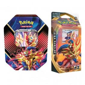 Pokémon TCG: Lata Colecionável Lendas de Galar - Zamazenta V + Baralho Temático Zamazenta