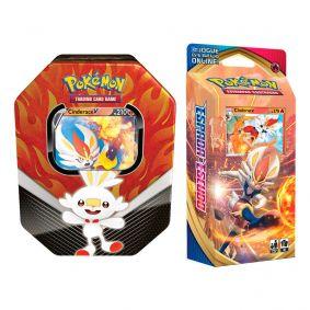Pokémon TCG: Lata Colecionável Parceiros de Galar - Cinderace V + Baralho Temático Cinderace
