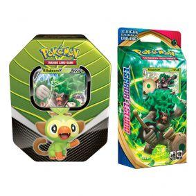 Pokémon TCG: Lata Colecionável Parceiros de Galar - Rillaboom V + Baralho Temático Rillaboom