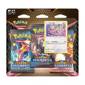 Pokémon TCG: Triple Pack Coleção Festa Maluca SWSH4.5 Destinos Brilhantes - Bunnelby