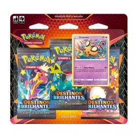 Pokémon TCG: Triple Pack Coleção Festa Maluca SWSH4.5 Destinos Brilhantes - Dedenne