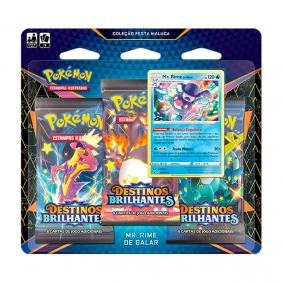 Pokémon TCG: Triple Pack Coleção Festa Maluca SWSH4.5 Destinos Brilhantes - Mr. Rime de Galar