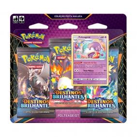Pokémon TCG: Triple Pack Coleção Festa Maluca SWSH4.5 Destinos Brilhantes - Polteageist