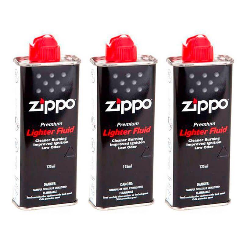 3x Fluido Premium para Isqueiro Zippo 125 ml