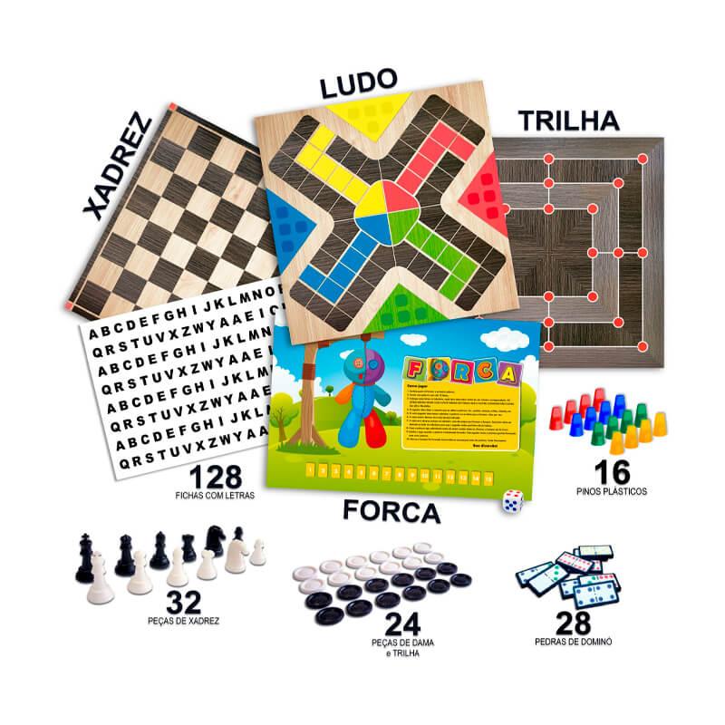 6 Jogos Clássicos - Dama + Ludo + Xadrez + Trilha + Dominó + Forca | Pais & Filhos