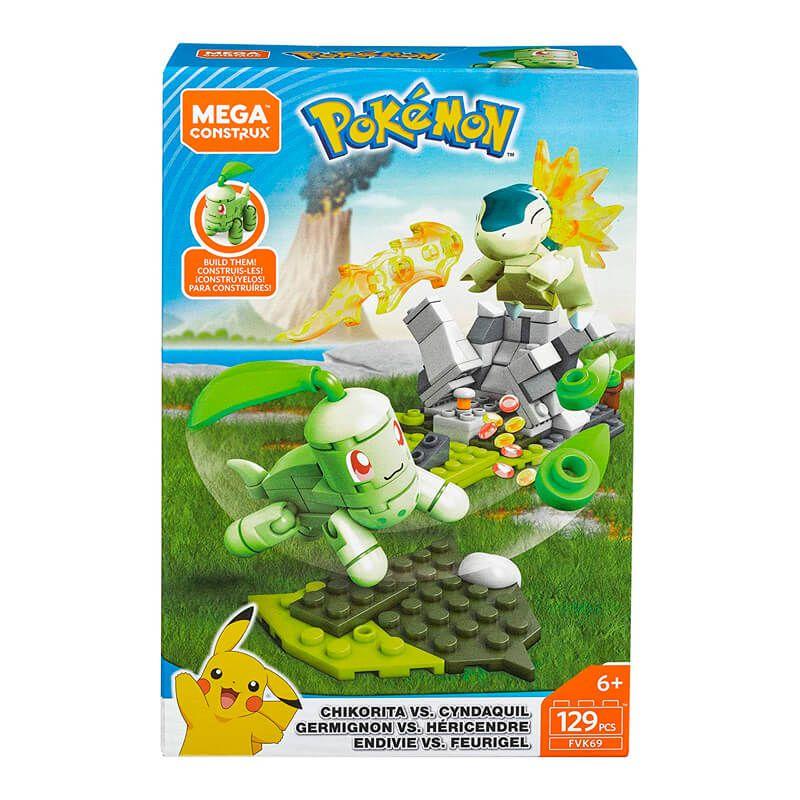 Blocos de Montar Mega Construx Pokémon - Chikorita VS. Cyndaquil | Mattel