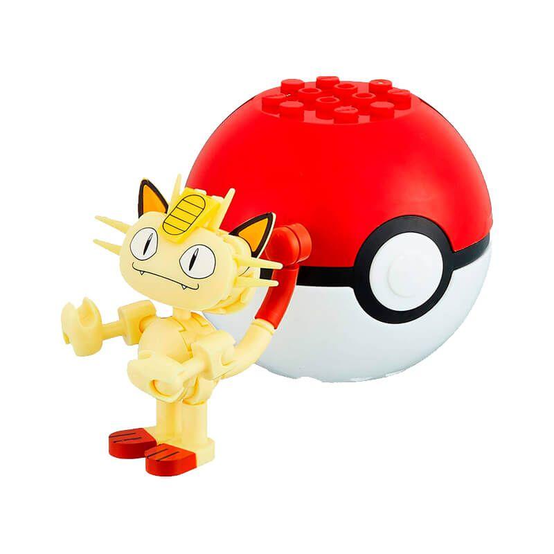 Blocos de Montar Mega Construx Pokémon - Meowth + Poké Bola | Mattel