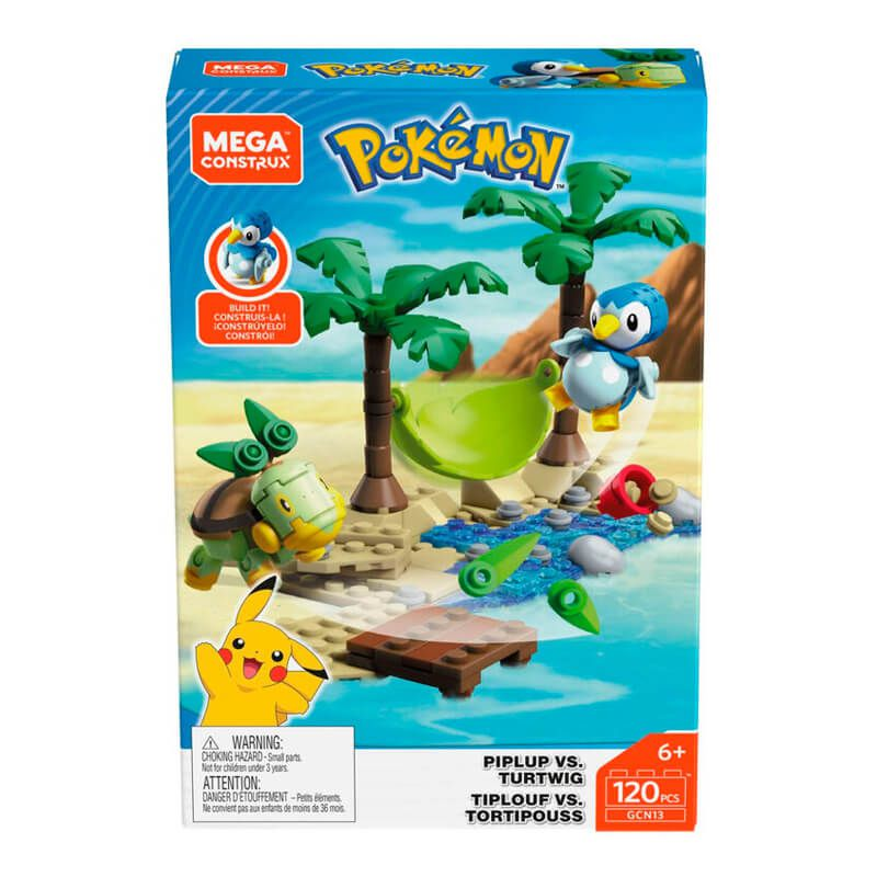 Blocos de Montar Mega Construx Pokémon - Piplup VS. Turtwig | Mattel