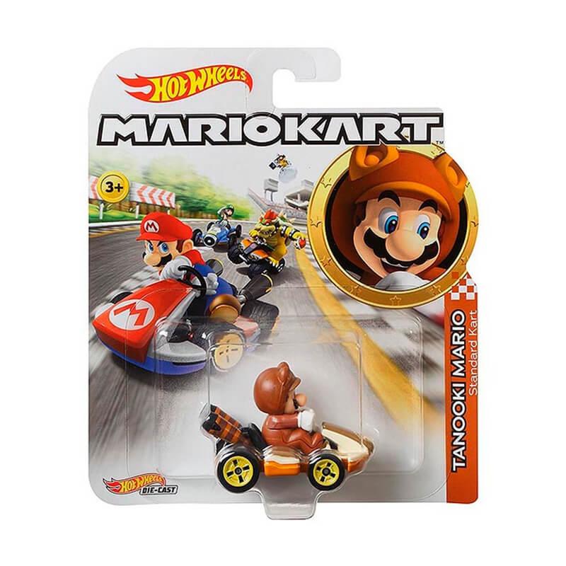 Boneco Hot Wheels Die-Cast Mario Kart: Tanooki Mario - Standard Kart | Mattel