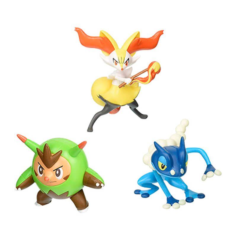"Boneco Pokémon Action Figure 2"" - Quilladin, Braixen e Frogadier | TOMY/Sunny"