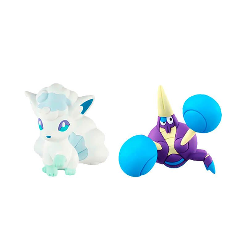Boneco Pokémon Action Figure - Raichu de Alola + Vulpix de Alola + Crabrawler | TOMY/Sunny