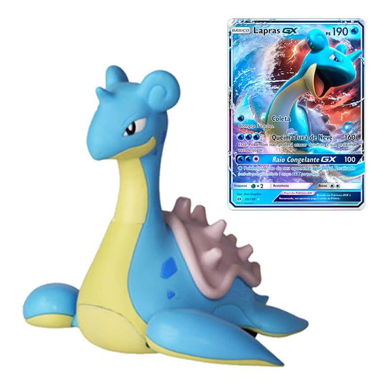 """Boneco Pokémon Battle Figure 4,5"""" - Lapras WCT/DTC + Carta Pokémon TCG: Lapras GX (35/149) SM1 - Sol e Lua"""