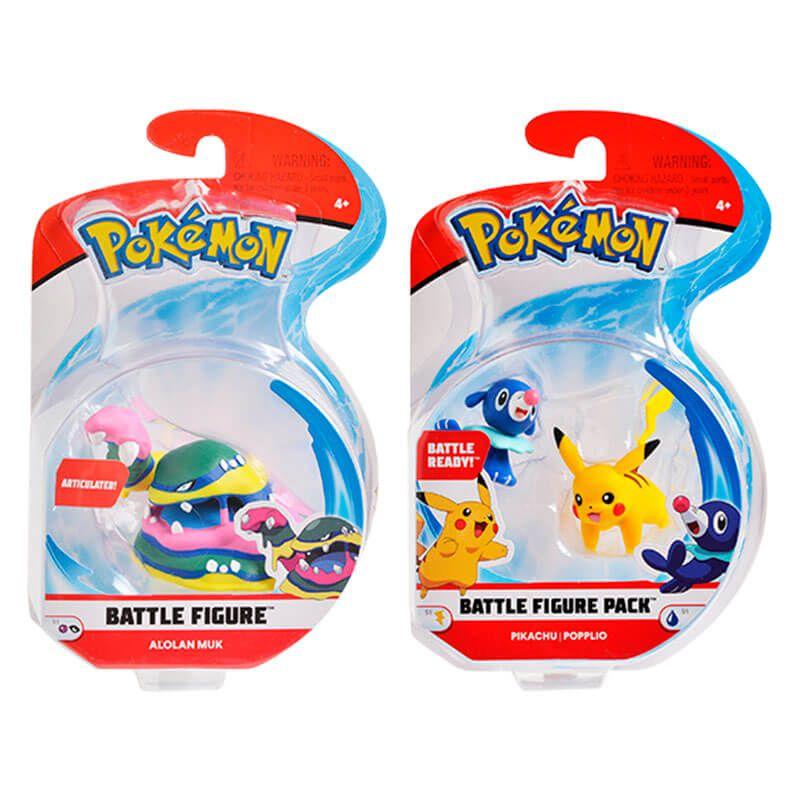 "Bonecos Pokémon Battle Figure 2"" e 3"" - Pikachu + Popplio e Muk de Alola | WCT/DTC"