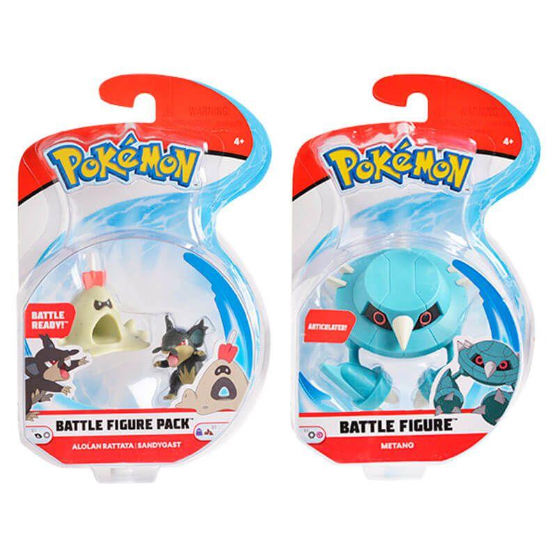 "Bonecos Pokémon Battle Figure 2"" e 3"" - Rattata de Alola + Sandygast e Metang | WCT/DTC"