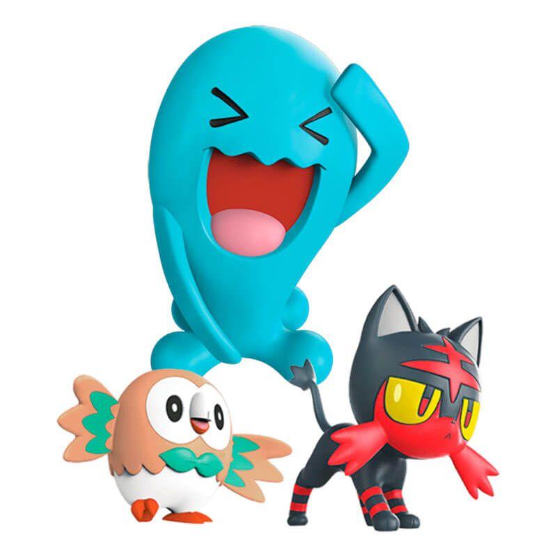 "Bonecos Pokémon Battle Figure 2"" e 3"" - Rowlet + Litten e Wobbuffet | WCT/DTC"