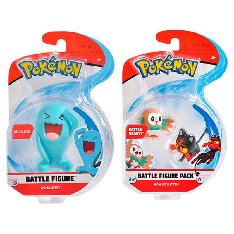 "Bonecos Pokémon Battle Figure 2"" e 3"" - Rowlet + Litten e Wobbuffet   WCT/DTC"