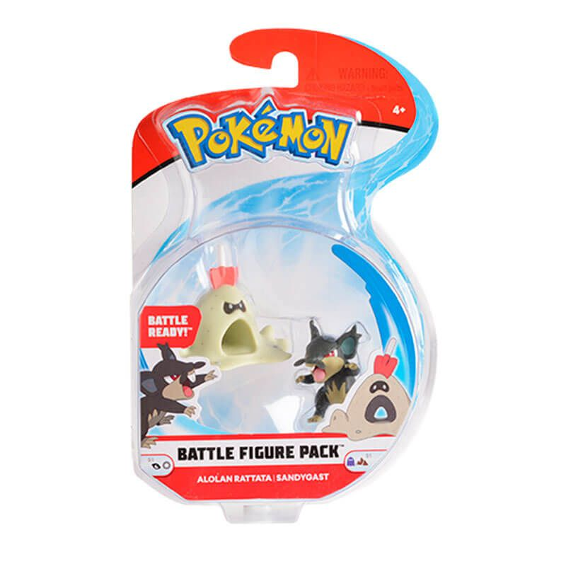 "Bonecos Pokémon Battle Figure 2"" - Rowlet + Litten, Pikachu + Popplio e Rattata de Alola + Sandygast | WCT/DTC"