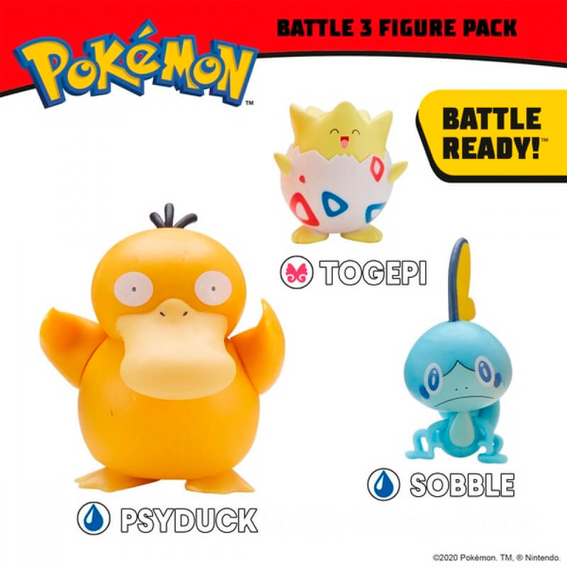 Bonecos Pokémon Battle Figure Set - Psyduck + Sobble + Togepi | Jazwares