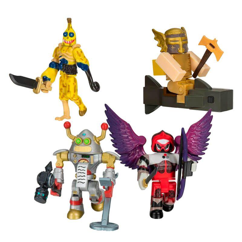 Bonecos Roblox - Darkenmoor: Bad Banana + Brainbot 3000 + Aqualotl + Booga Booga: Shark Rider   Jazwares/Sunny