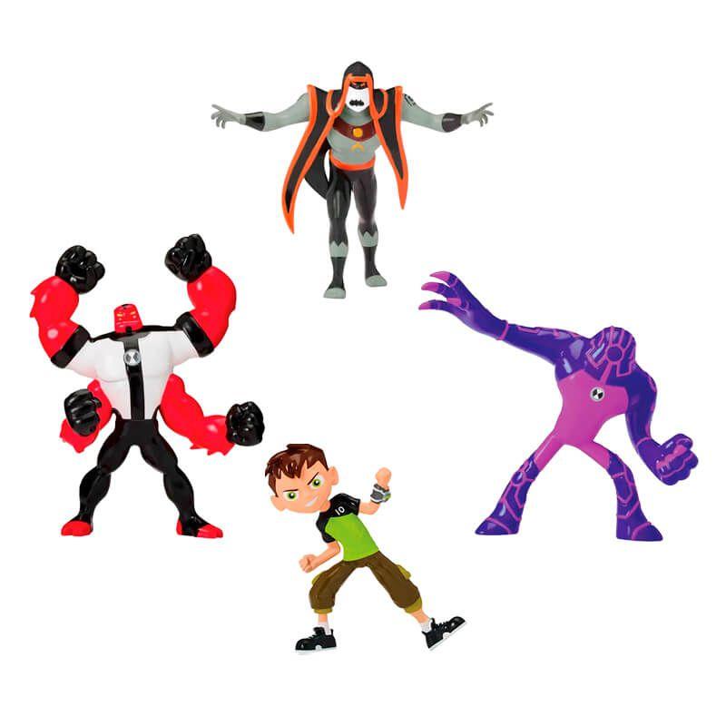 Combo Bonecos Ben 10 Mini Figuras - Ben Tennyson + Quatro-Braços + Ultra T + Hex | Playmates/Sunny