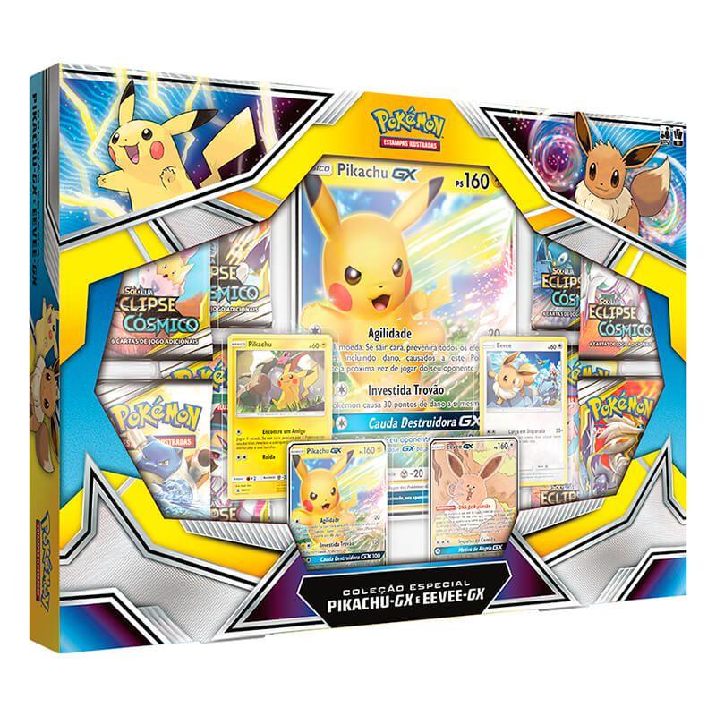 Combo Box Coleção Especial Pikachu GX e Eevee GX + Deck Let's Play, Eevee! + Sleeve Oficial - Pikachu