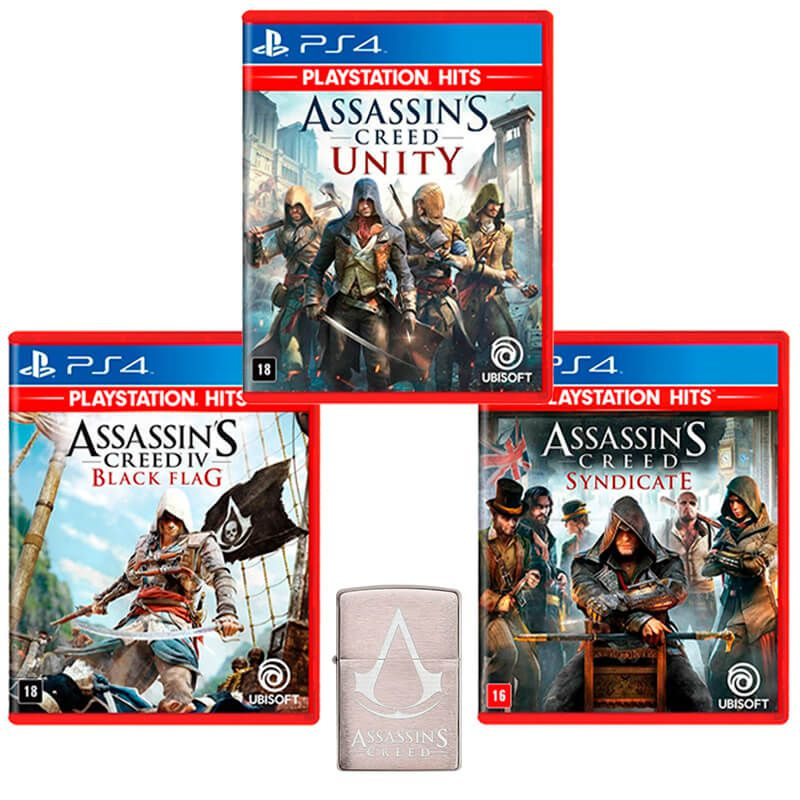 Combo Isqueiro Zippo 29494 Classic Cromado Assassin's Creed Escovado + Assassin's Creed IV Black Flag + Assassin's Creed: Syndicate + Assassin's Creed: Unity - PS4
