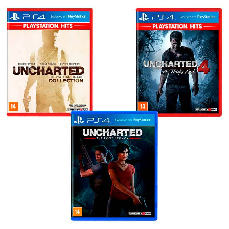 Combo Jogos Uncharted 4: A Thief's End + Uncharted: The Lost Legacy + Uncharted: The Nathan Drake Collection - PS4