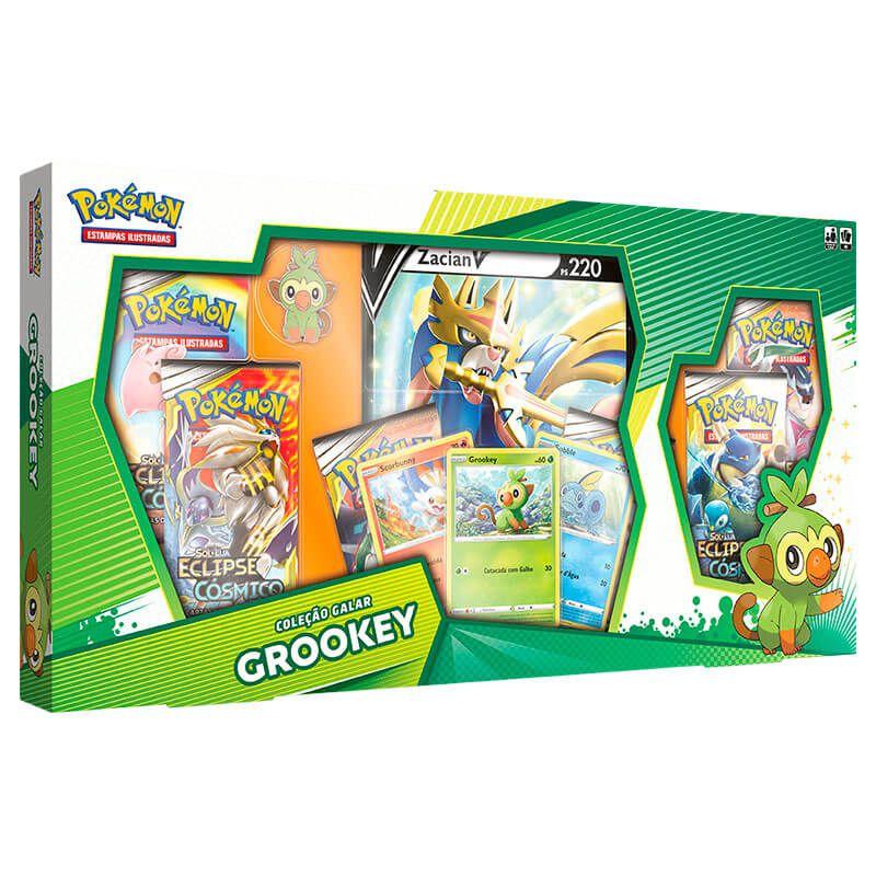 Combo Pokémon TCG: Box Coleção Galar Grookey, Scorbunny e Sobble - Zacian V
