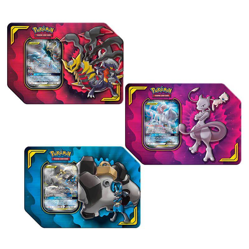 Pokémon TCG: Latas Colecionáveis Parceria Poderosa - Lucario e Melmetal GX + Mewtwo e Mew GX + Garchomp e Giratina GX