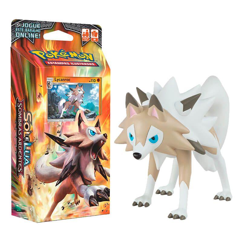 "Pokémon TCG Deck SM3 Rocha Confiável + Action Figure 4"" - Lycanroc (Midday Form) TOMY"