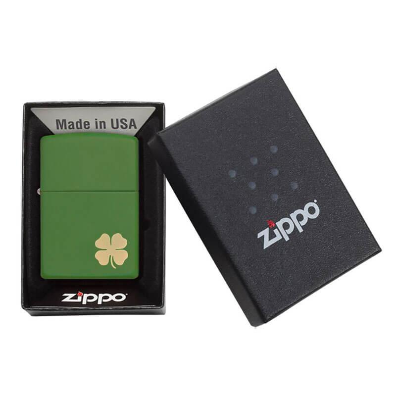 Isqueiro Zippo 21032 Classic Trevo 4 Leaf Clover Verde Fosco
