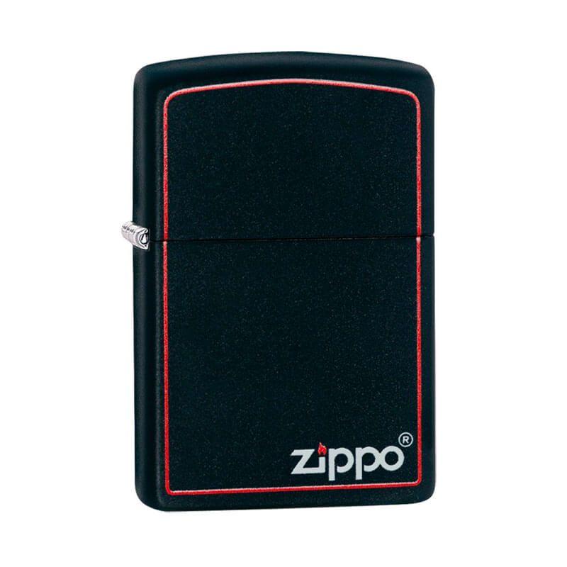 Isqueiro Zippo 218ZB Classic Borda Vermelha em Preto Fosco