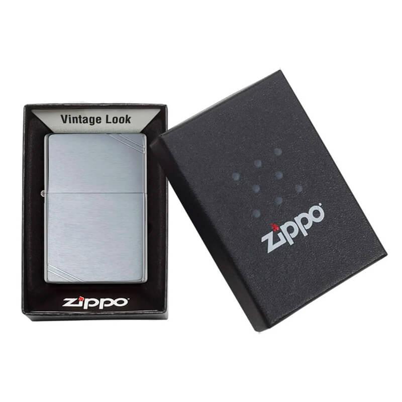 Isqueiro Zippo 230 Vintage Cromado Escovado com Traços