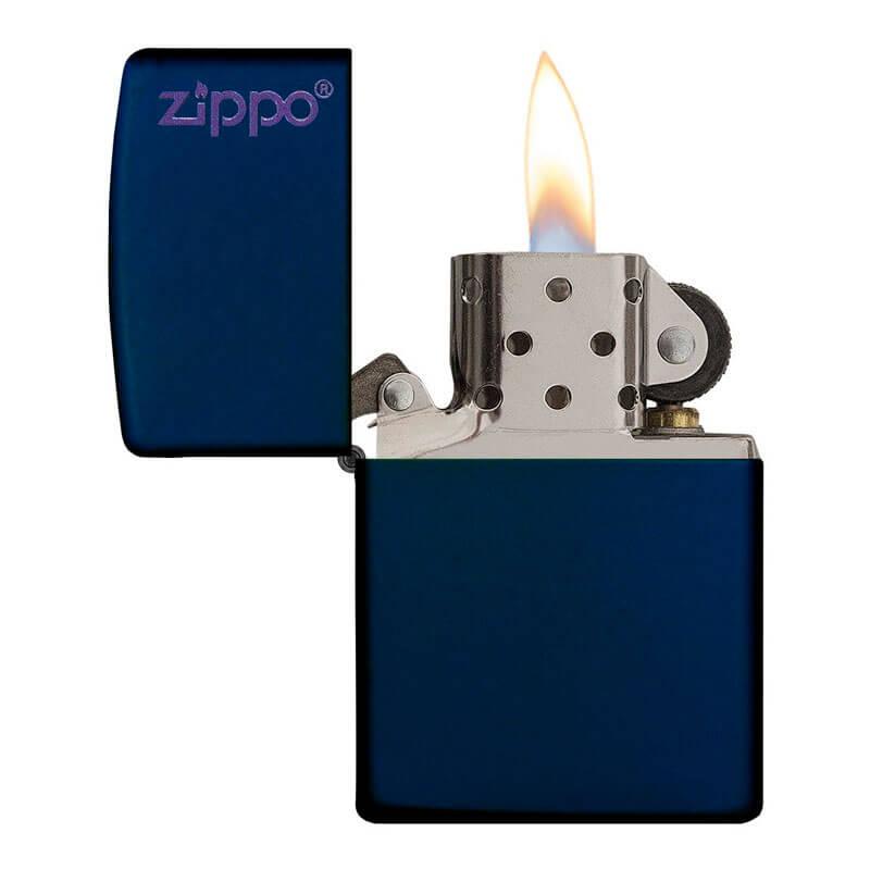 Isqueiro Zippo 239ZL Classic Zippo Logo Azul Marinho Fosco
