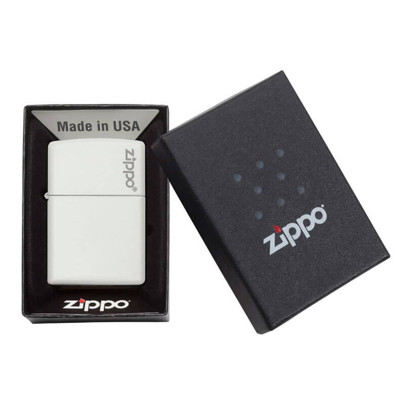 Isqueiro Zippo 214ZL Classic Zippo Logo Branco Fosco