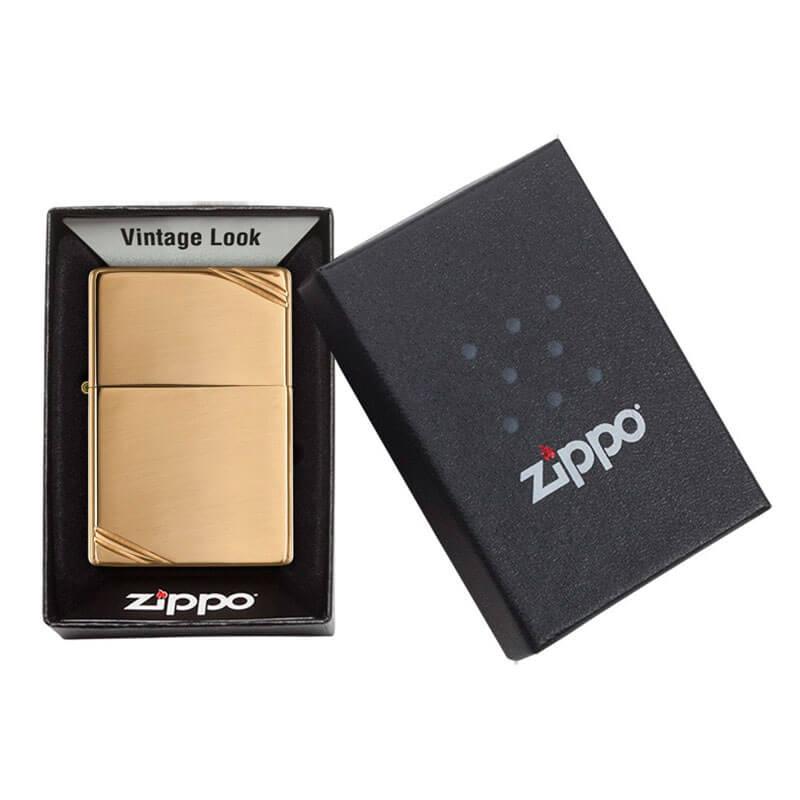 Isqueiro Zippo 270 Vintage Latão Polido com Traços