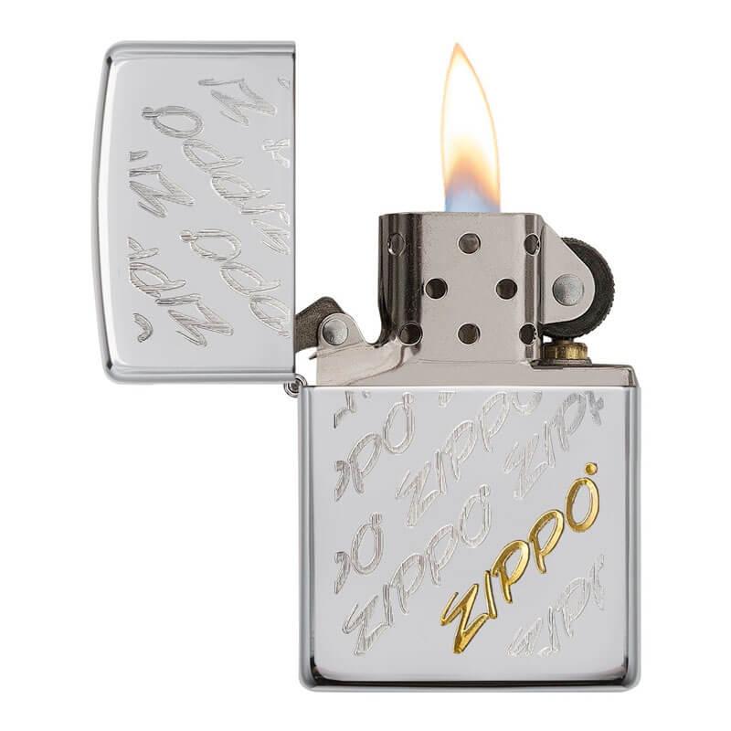 Isqueiro Zippo 28642 Classic Cromado Zippo Script Escovado