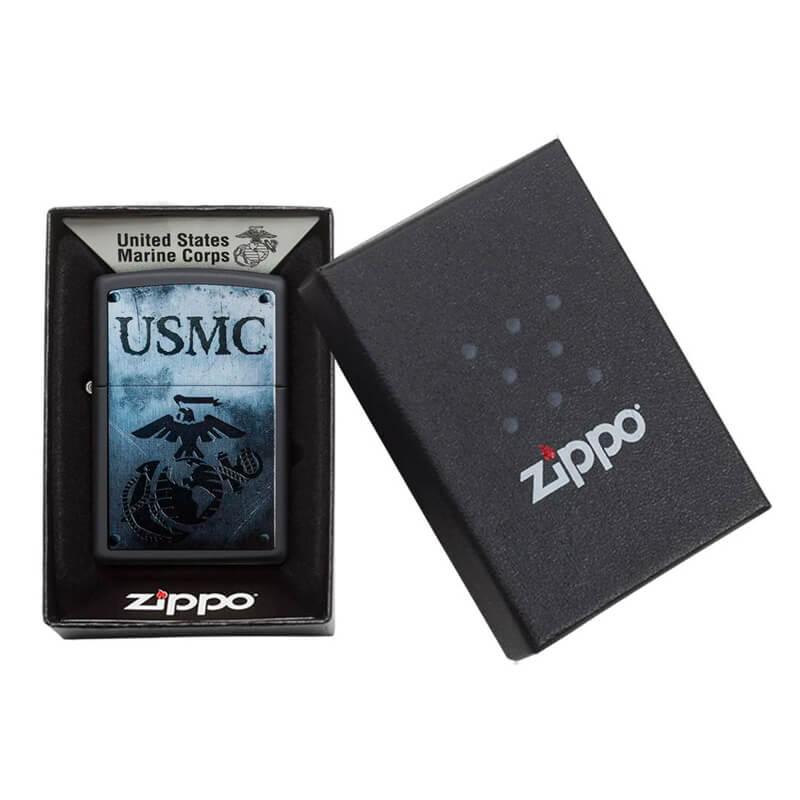Isqueiro Zippo 28744 Classic U.S Marine Corps Preto Fosco